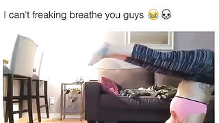 Girl trying to stand up side down and fall into...