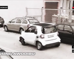 Angry bodybuilder can't park his car.