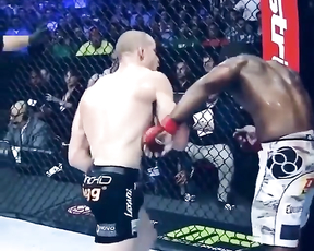 Perfect elbow combination, and uppercut destroyed him.