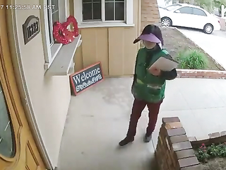 Dog from the house scared that woman. Lol