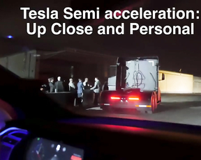 Tesla Electric Truck Semi accelerating and test rides.