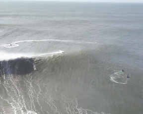 Giant waves hit the coast of Nazare, Portugal Filmed by Drone.