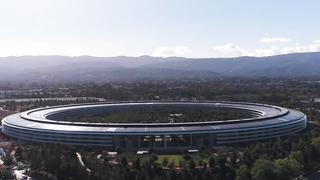 View of Apple Park in Cupertino, California via Drone.