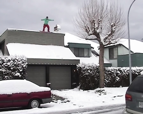 When Snowboarding Roof Jumps Go Wrong