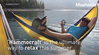 Lounge over the water in this epic ring of hammocks