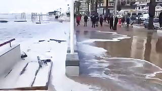 My city today. There was a beach there.