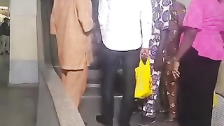 Africans use an escalator for the first time in their lives