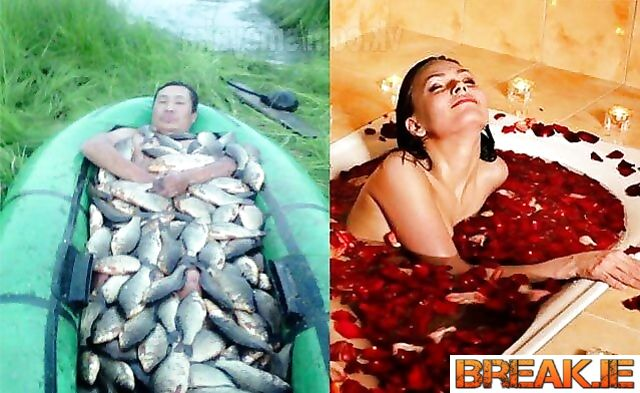 Photo of a man and photo of a women, And both smell of fish.