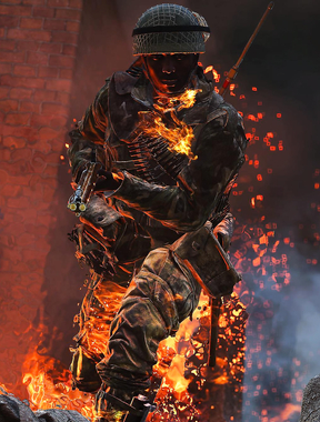 Amazing picture, Soldier on fire in bf5.