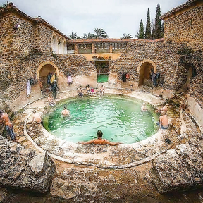 This is a 2,000 years old  Roman spa in Algeria is still in use.