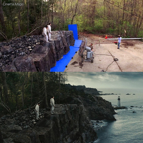 """""""Island of the Damned"""" before and after the imposition of special effects"""