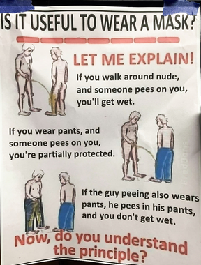 If someone pees on your pants, it gets wet but you don't woah!