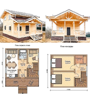 Cozy wooden house for a summer residence. Spacious and inexpensive.