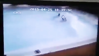 Swimming pool during earthquake.