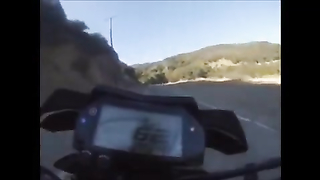 Biker Accidentally Drives Off Cliff.