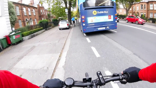 Cycling in Dublin! Man in Blue Jacket vs Dublin Bus.