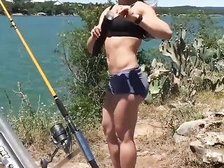 What a girl with bait launcher.