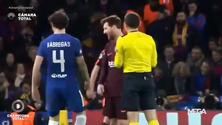 Funny: Lionel Messi Asks Referee Yellow Card For Cesc Fabregas.