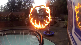 Epic Pool Dunk Through Ring of Fire