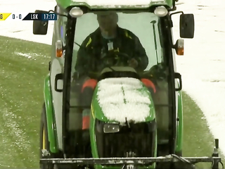 Norway stopped the game to clean the snow