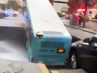 The bus fell into a drain hole in  Pittsburgh city centre.