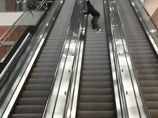 A quicker way to go down the moving staircase.