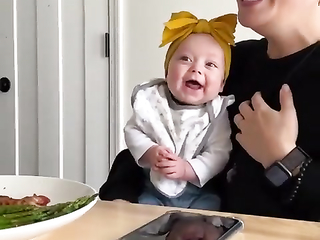 Sooooo cute! A baby's laugh. This little baby girl just made my day.