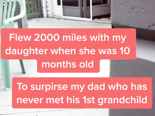 Grandpa gets surprise to meet his granddaughter for the first time.