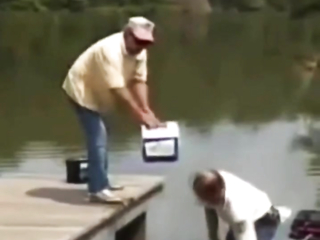 Fishing with men, and we got our battery, funny video