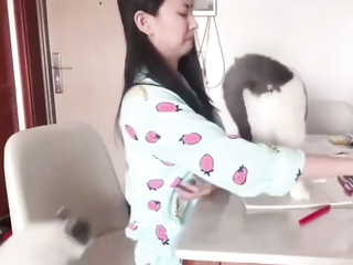 Wow so cute... cats won't let her focus.