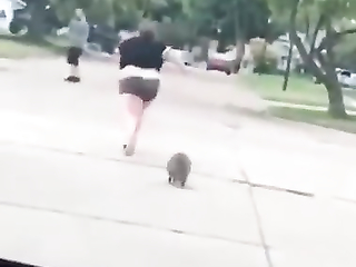 That raccoon was her cardio instructor