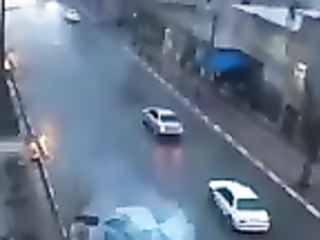 Lightning hit the car on the move