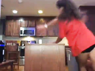 Girl acting cool in the kitchen epic fail