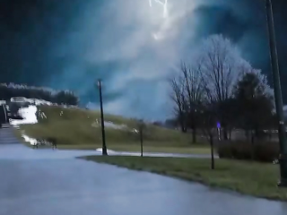 These dramatic lightening traces in the night sky
