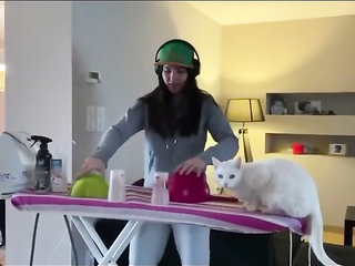 The cat doesn't know how to enjoy the party.. LOL.